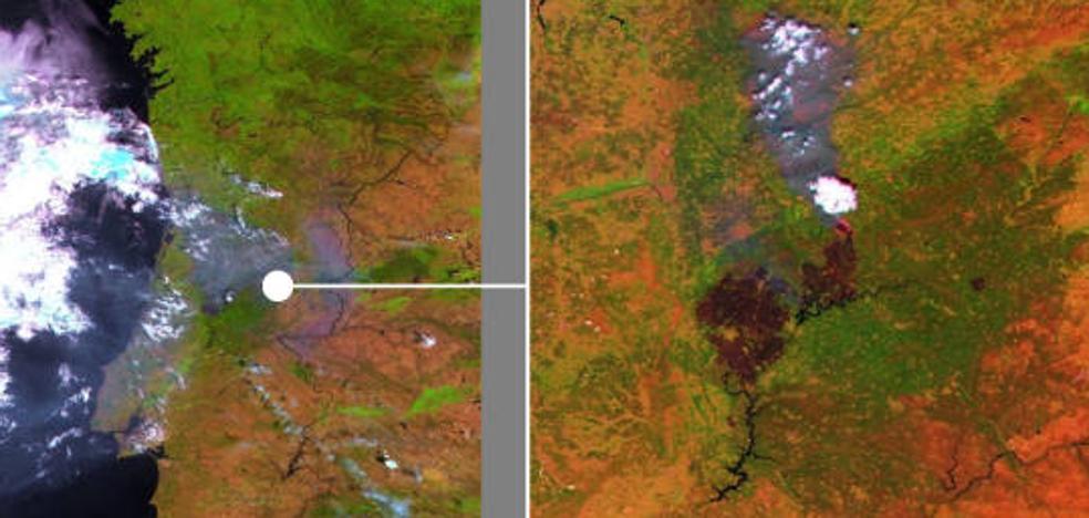 La huella del incendio de Portugal, visible desde el espacio
