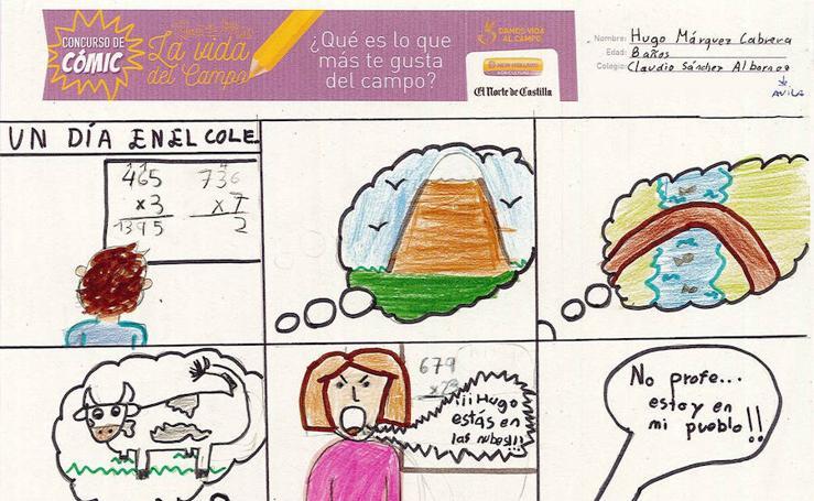 Trabajos de 3º de Primaria en la modalidad de cómic del I Concurso de Dibujo y Cómic 'La vida del campo'