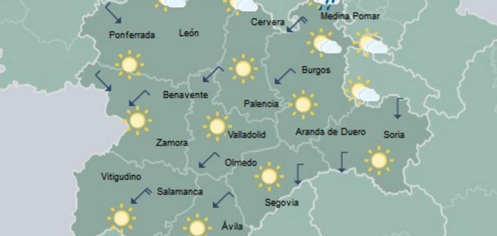 Despejado en Castilla y León con alguna lluvia débil en el norte