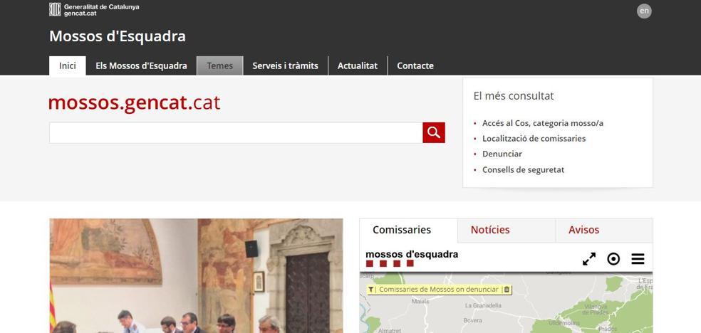 Los Mossos retiran el castellano de su web