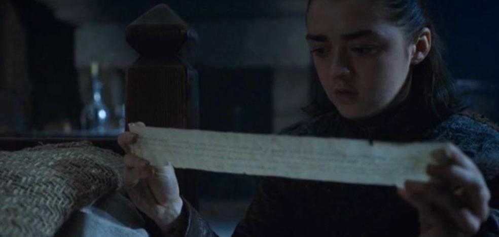 Esto es lo que pone en la carta que Arya descubre en Invernalia