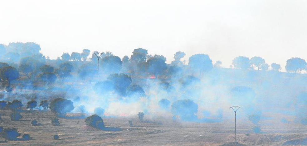 Un incendio junto a la zona militar de Los Montalvos alcanza el nivel 1