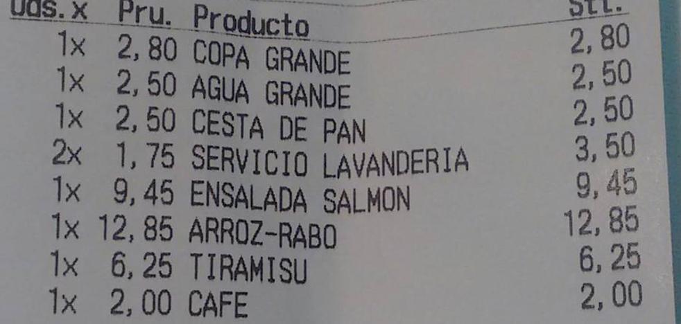3,50 euros por el lavado del mantel