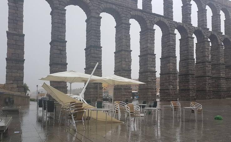La huella de la tormenta en Segovia