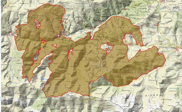 El mapa de la superficie quemada en el incendio de La Cabrera