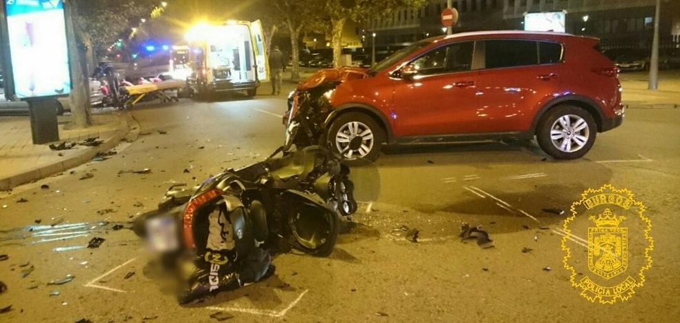 Herido grave un motorista en un accidente de tráfico en Burgos