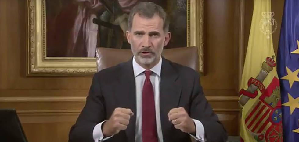 El Rey acusa a la Generalitat de «deslealtad inadmisible» y llama a «asegurar el orden constitucional»