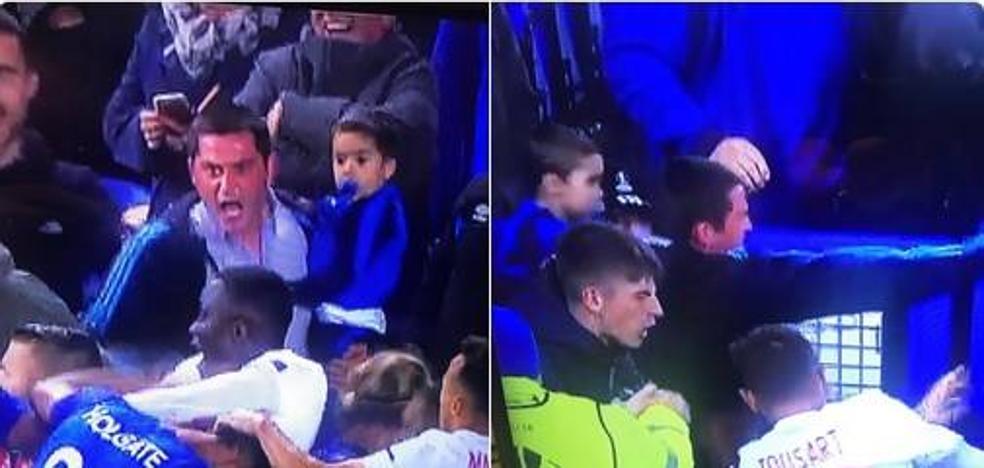 Investigan la pelea del Everton-Lyon en la que participó un hincha con un niño en brazos