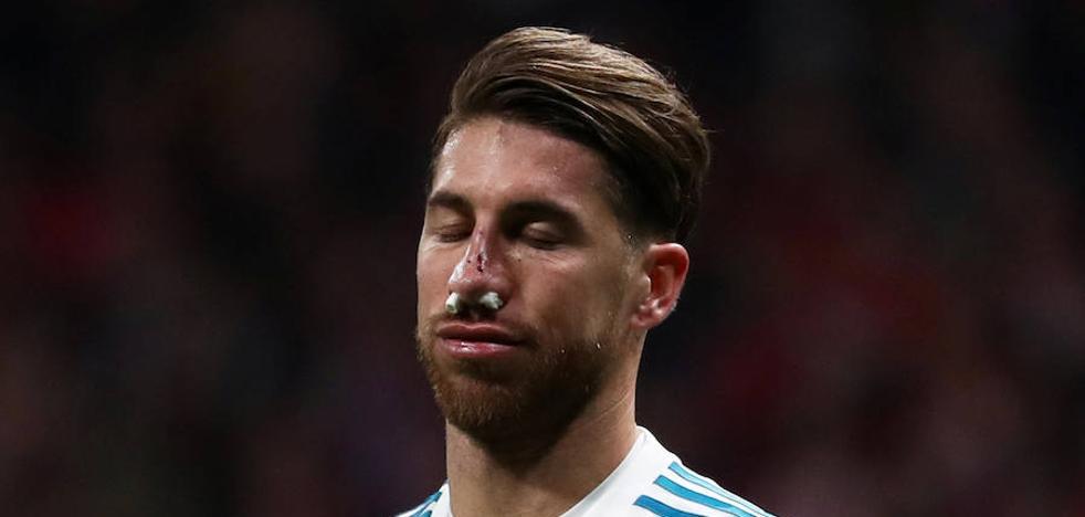 Sergio Ramos, con la nariz rota tras una patada de Lucas