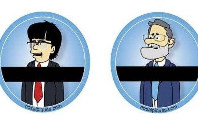 Una empresa crea un adhesivo para el WC con las caras de Puigdemont y Rajoy