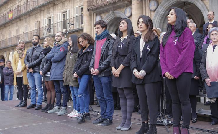 Actos contra la violencia de género en la Plaza Mayor de Salamanca