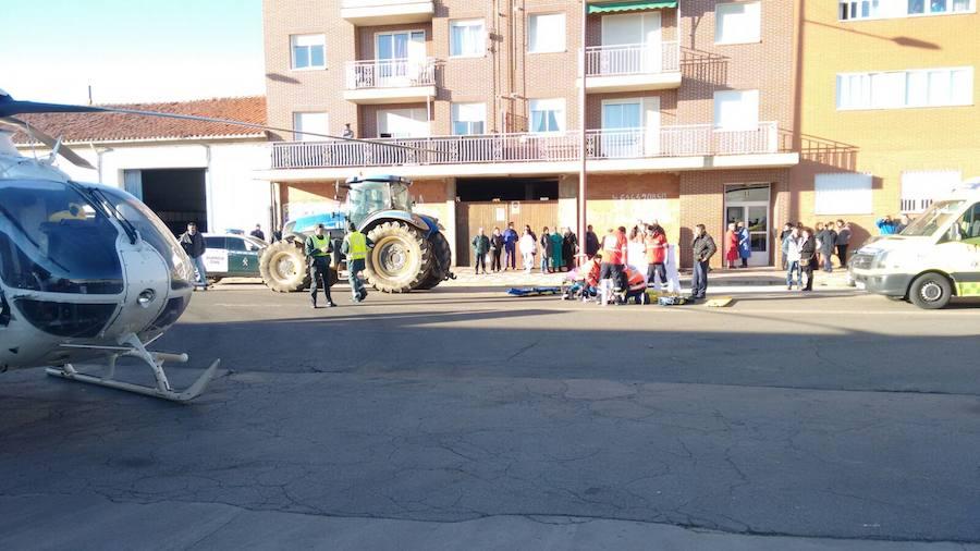 Atropello de un tractor en Coyanza