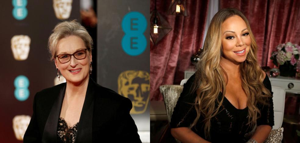 Meryl Streep le lanza alguna pullita a Mariah Carey en los Globos de Oro