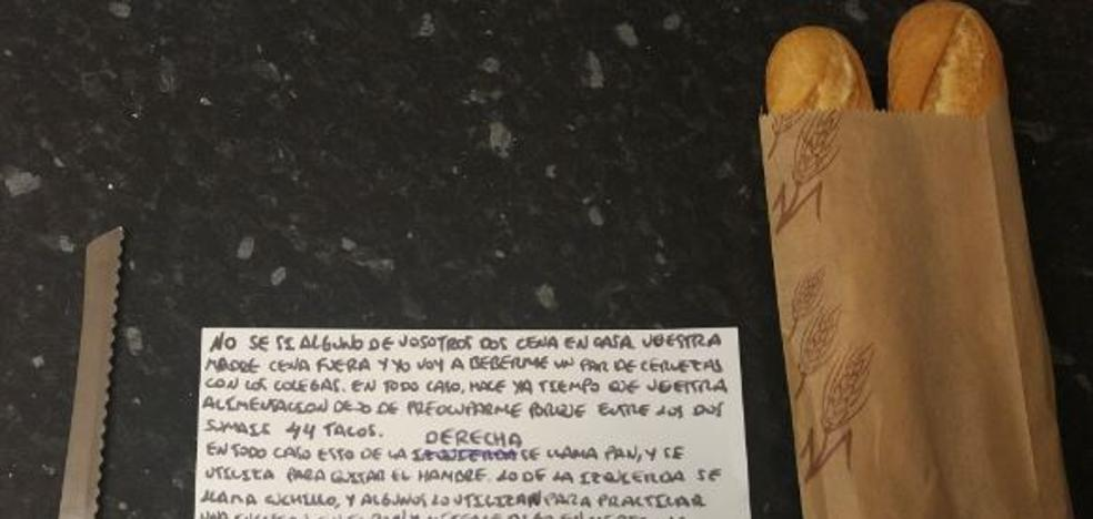 Las instrucciones que un padre escribió a sus hijos de cómo hacerse un bocadillo