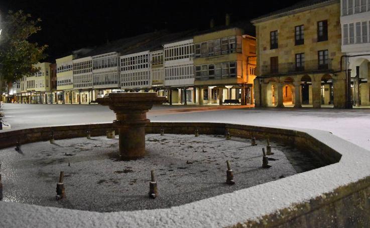 Nieve y hielo en Aguilar este jueves