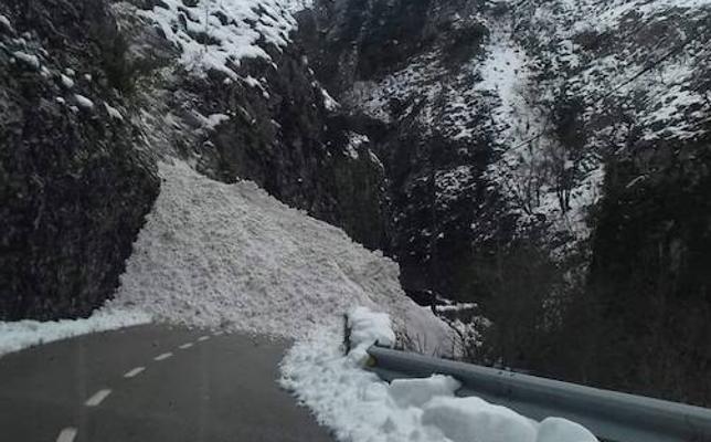 Una avalancha de nieve en el desfiladero de los Beyos corta la conexión entre León y Asturias