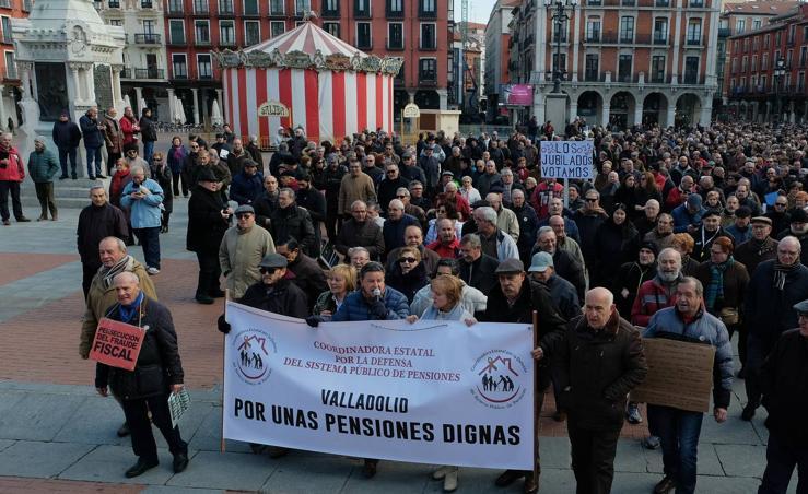 Manifestación en Valladolid en defensa de las pensiones