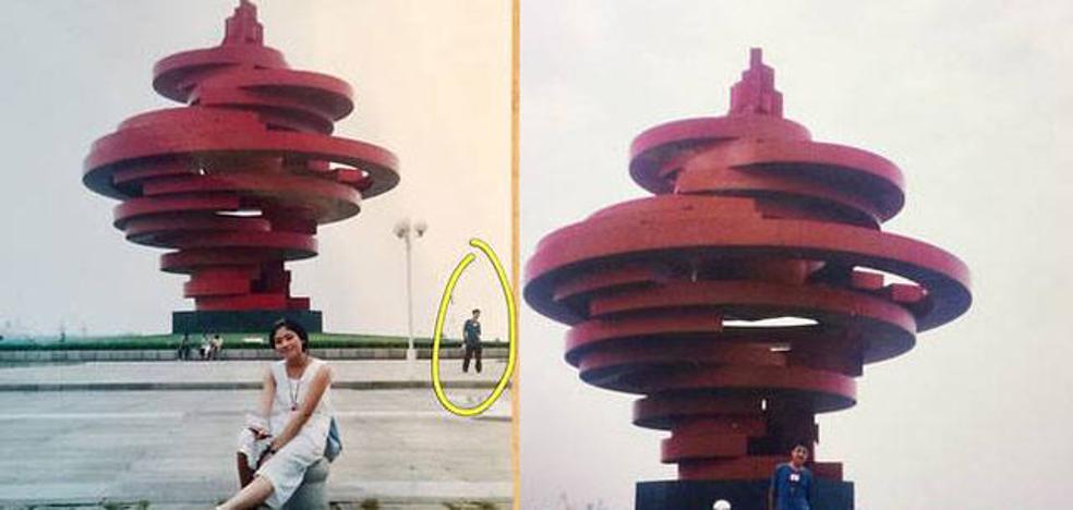 Una pareja coincide en la misma foto años antes de conocerse