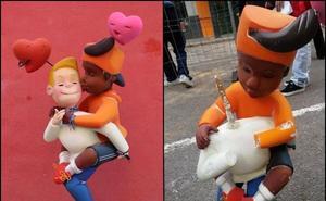 Destrozan el ninot de dos chicos besándose de una falla de Valencia