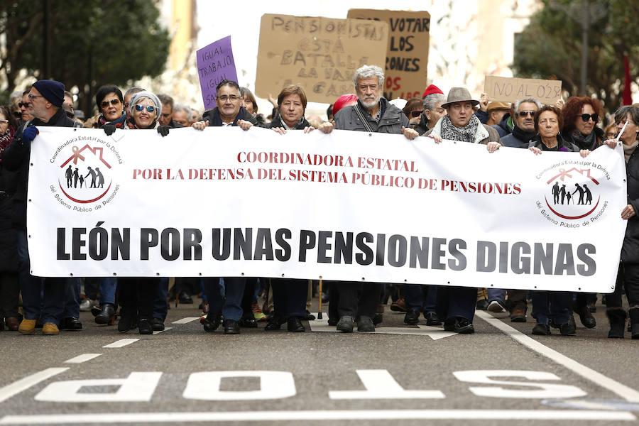 Protesta por una pensión digna en León