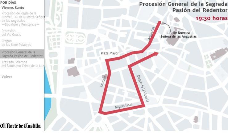Todos los recorridos de las procesiones de la Semana Santa de Valladolid 2018