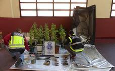 Dos detenidas en Palencia con 22 plantas de marihuana, un revólver y tres espadas