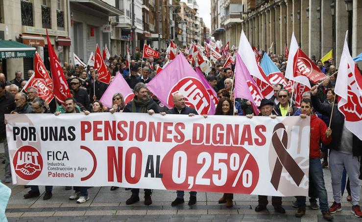 Manfestación a favor de unas pensiones dignas en Palencia