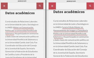 El procurador socialista leonés Óscar Álvarez suma a su currículum un Máster que nunca fue legal