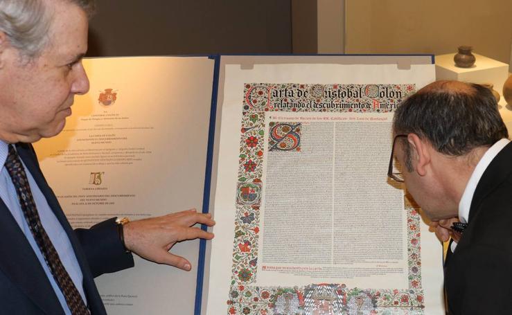 Presentación del facsímil de la carta de Colón anunciando el descubrimiento del Nuevo Mundo