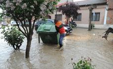 Una tormenta inunda las calles de La Seca