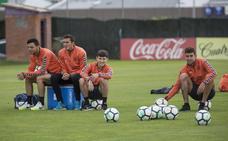 Entrenamiento del Real Valladolid tras regresar de Gijón