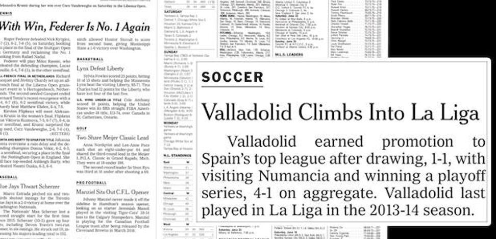 'The New York Times' reseña la vuelta del Real Valladolid a Primera División