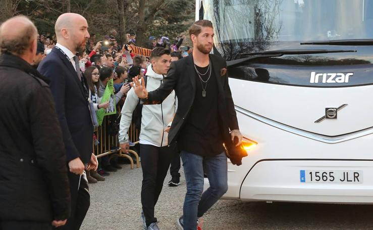 LLegada del Real Madrid al estadio Zorilla de Valladolid