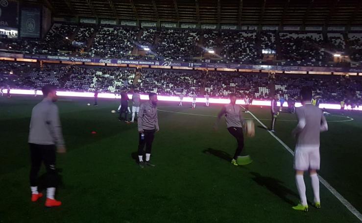 El estadio Zorrilla se queda sin luz en los momentos previos al partido ante el Real Madrid