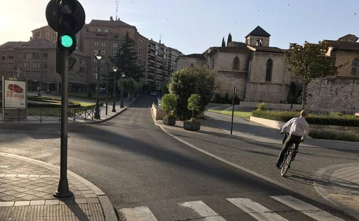 Sin tráfico en el centro de Valladolid