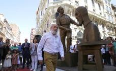 Victorio Macho trae el Cristo del Otero hasta la Calle Mayor de Palencia
