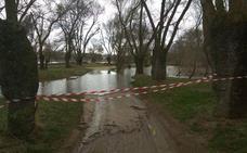 Acordonadas algunas zonas del parque 'El Soto' en Ávila ante la crecida del río Adaja