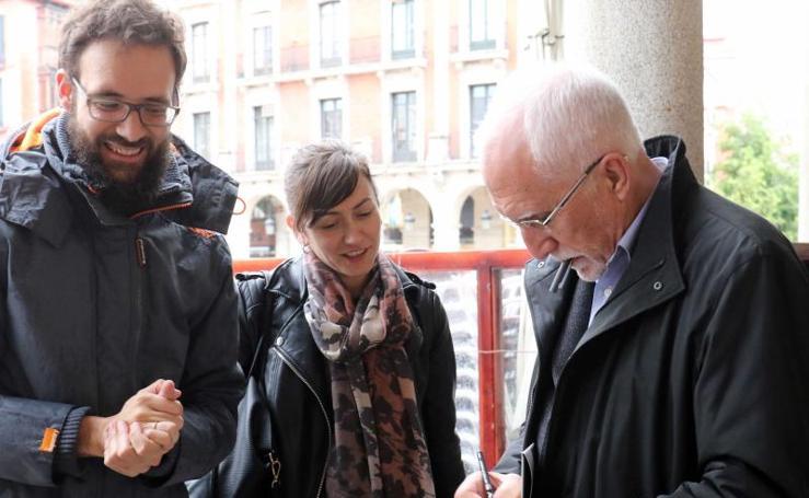 Fernando Beltrán, Luis Mateo Díez y Agustín García Simón en la Feria del Libro de Valladolid