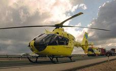Trasladado en helicóptero a Burgos un herido grave en la A-67