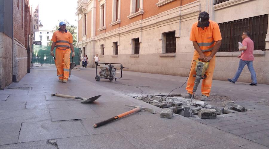 Catas de las obras del parking de la Plaza Mayor de Valladolid