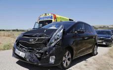 Accidente entre dos coches en la N-122 cerca de Peñafiel