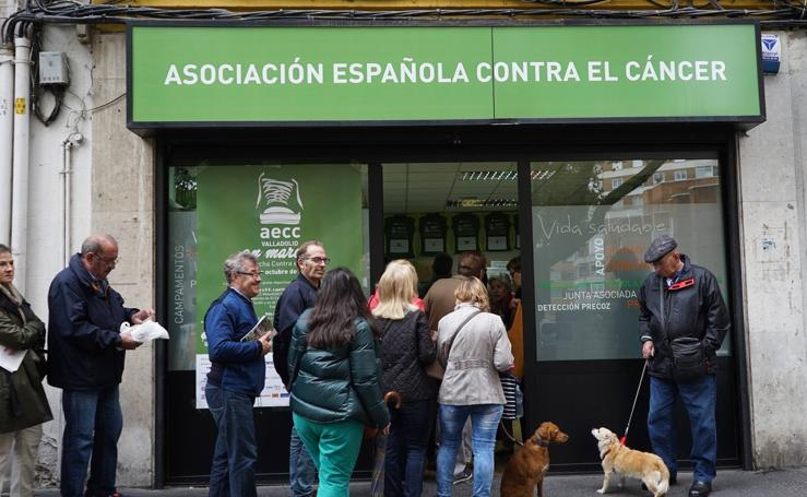 Cola para inscribirse en la Marcha Contra el Cáncer de Valladolid