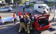 Aparatoso accidente en el Camino Viejo de Simancas, en Valladolid
