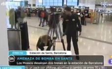 Así interrumpió la seguridad de la estación de Sants (Barcelona) un directo de TVE