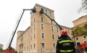 La UME realiza un simulacro en torno a la estabilización de un edificio histórico en Valladolid