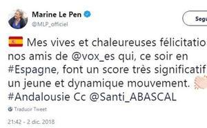 Marine Le Pen felicita a VOX por su resultado: «Son un movimiento joven y dinámico»