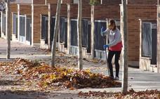 Los vecinos de La Cañada Real limpian las hojas de las aceras