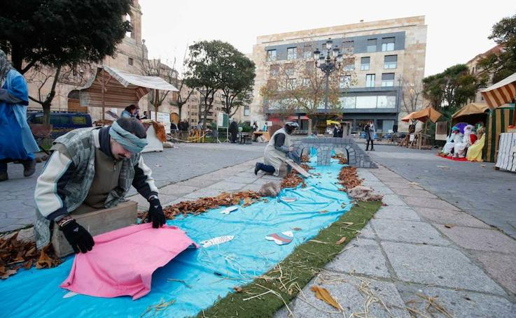 Belén viviente en la Plaza de los Bandos de Salamanca