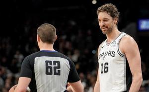 Pau Gasol, testigo presencial de una nueva derrota de los Spurs