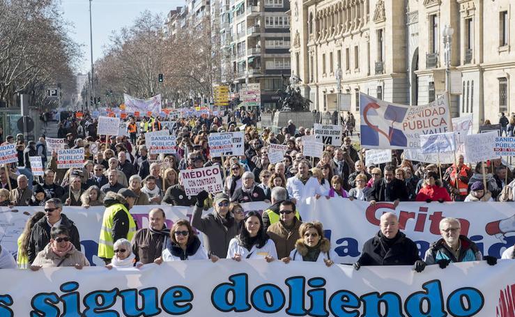 Manifestación en Valladolid en defensa de la sanidad pública de Castilla y León
